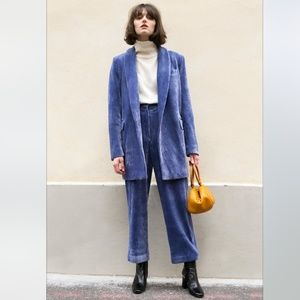 NWT Stunning Retro Blue Corduroy Pantsuit Small